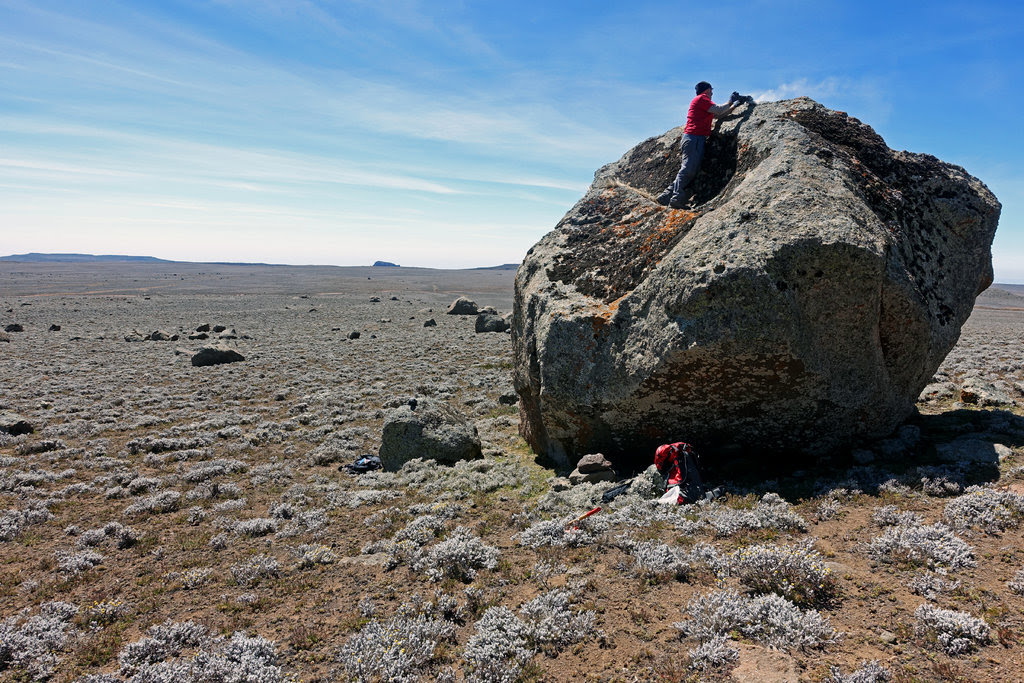"Scientists took rock samples from an ""erratic"" boulder, thought to have been left by retreating glaciers, on the Sanetti Plateau in the Bale Mountains of Ethiopia."