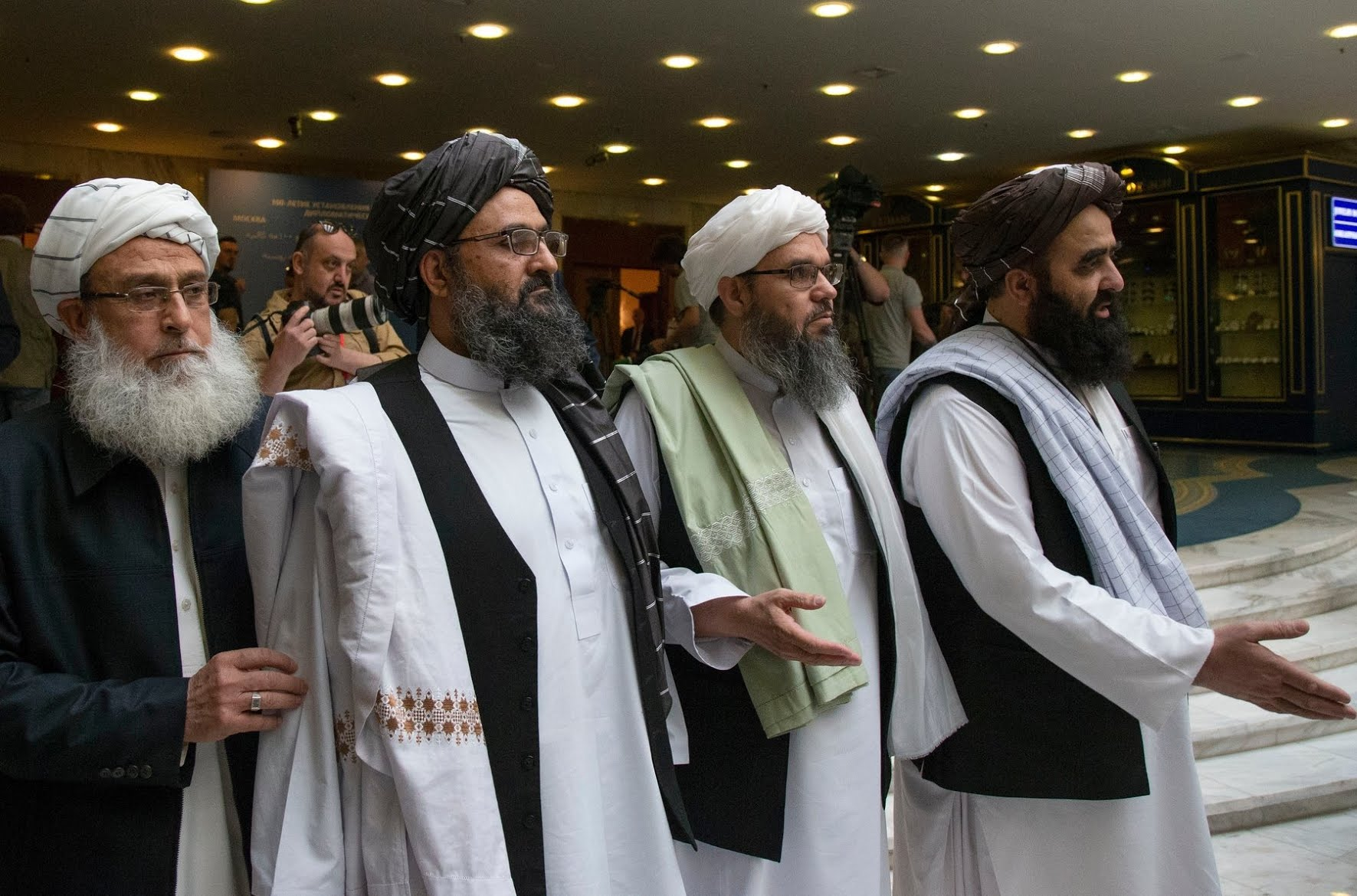 Mullah Abdul Ghani Baradar, second from left, with members of a Taliban delegation in Russia in 2019.