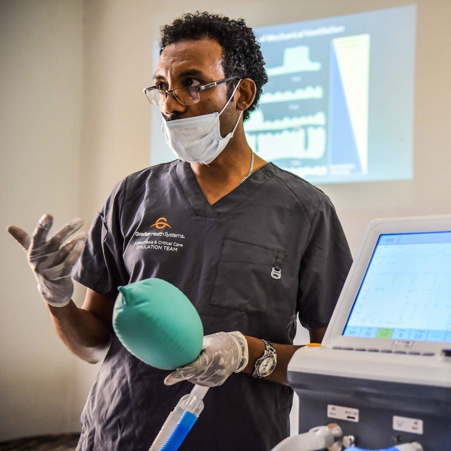 Habtamu Kehali provides training for doctors on how to use mechanical ventilators for coronavirus patients at the American Medical Center in Addis Ababa, Ethiopia.