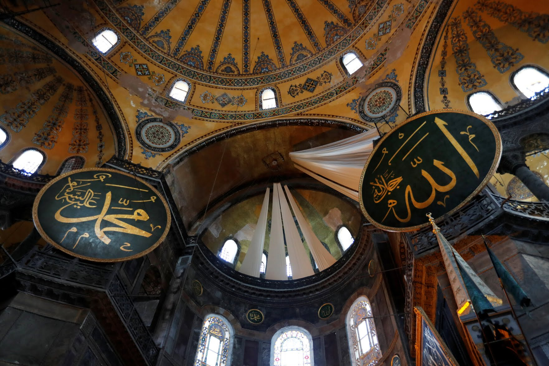 Drapes covered Christian artwork in Hagia Sophia for its reopening as a mosque.