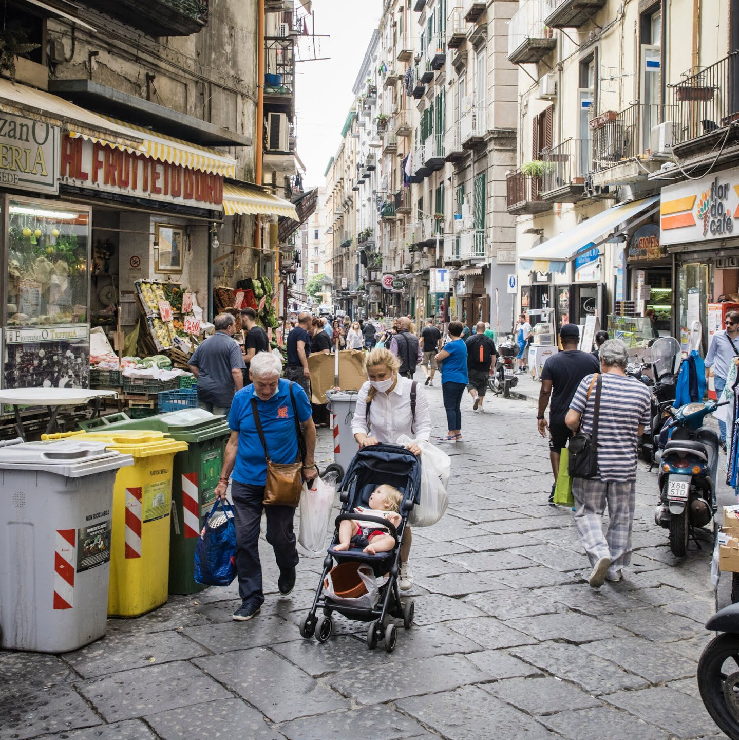A market in Naples, Italy, on June 19. Italians are cautiously optimistic that they have the virus in check — even as national health experts warn that complacency remains the jet fuel of the pandemic.