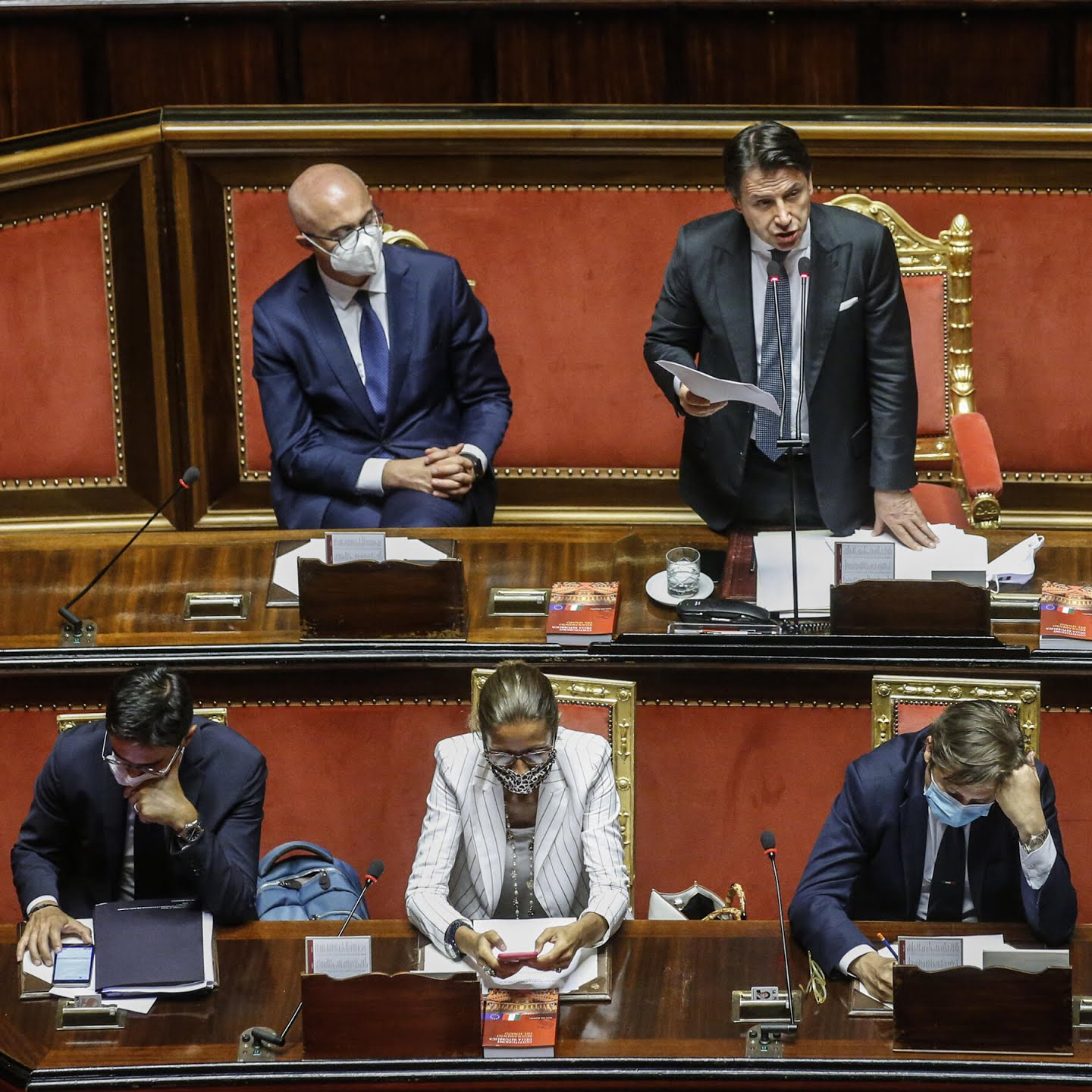 "Prime Minister Giuseppe Conte of Italy told Parliament on Tuesday that the nation could not let its guard down ""because the virus is still circulating."""