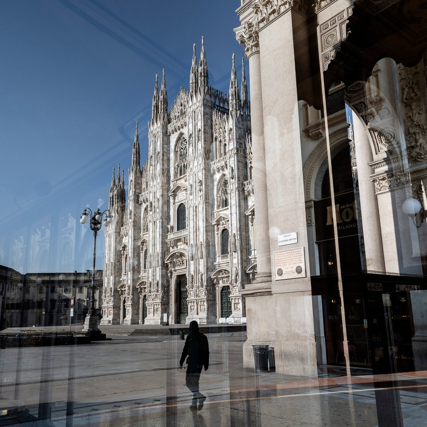 The Piazza Duomo in Milan during Italy's lockdown in early April.