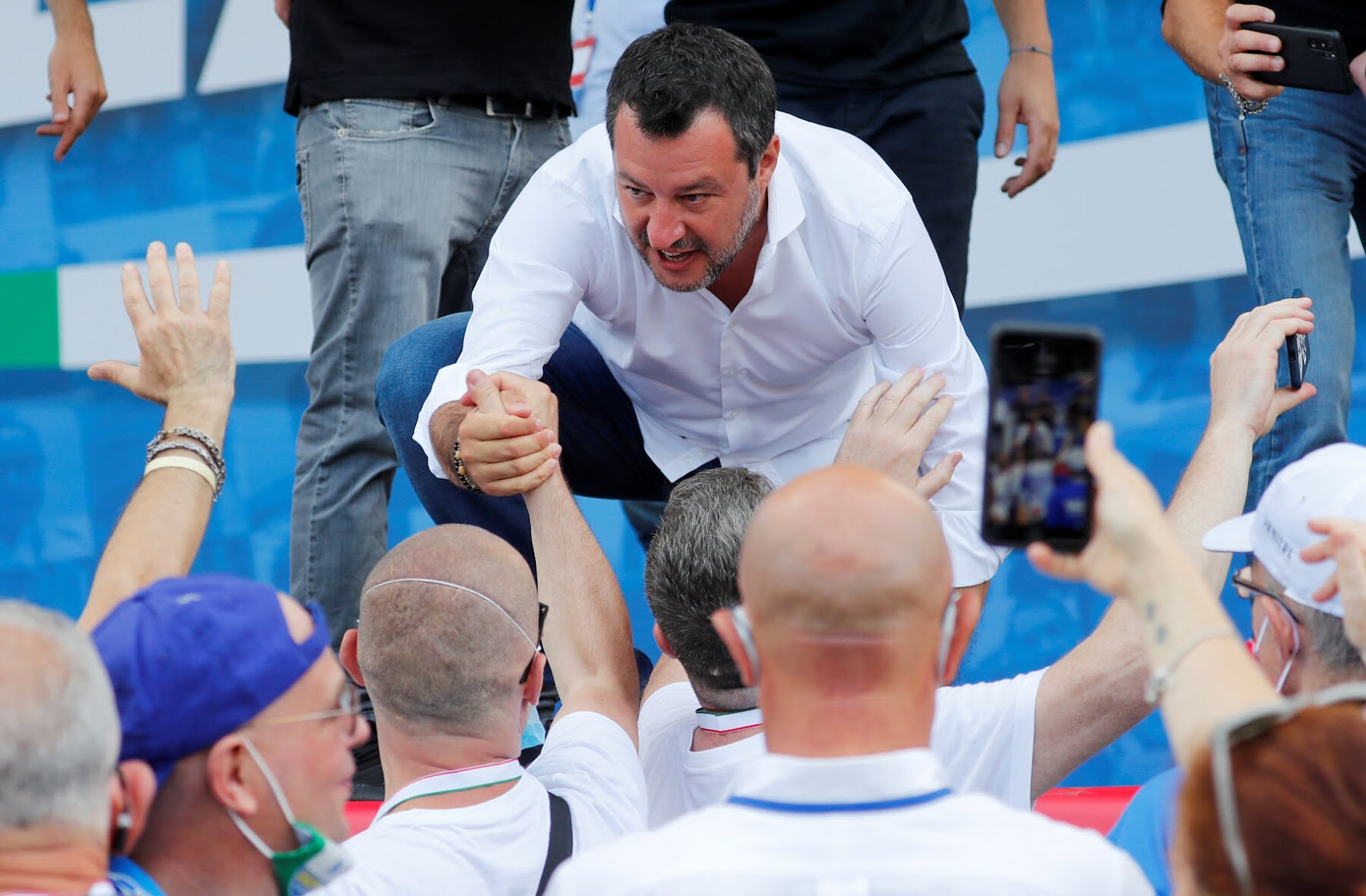 "Matteo Salvini, the hard-right nationalist politician, has said that replacing handshakes and hugs with elbow bumps was ""the end of the human species."""