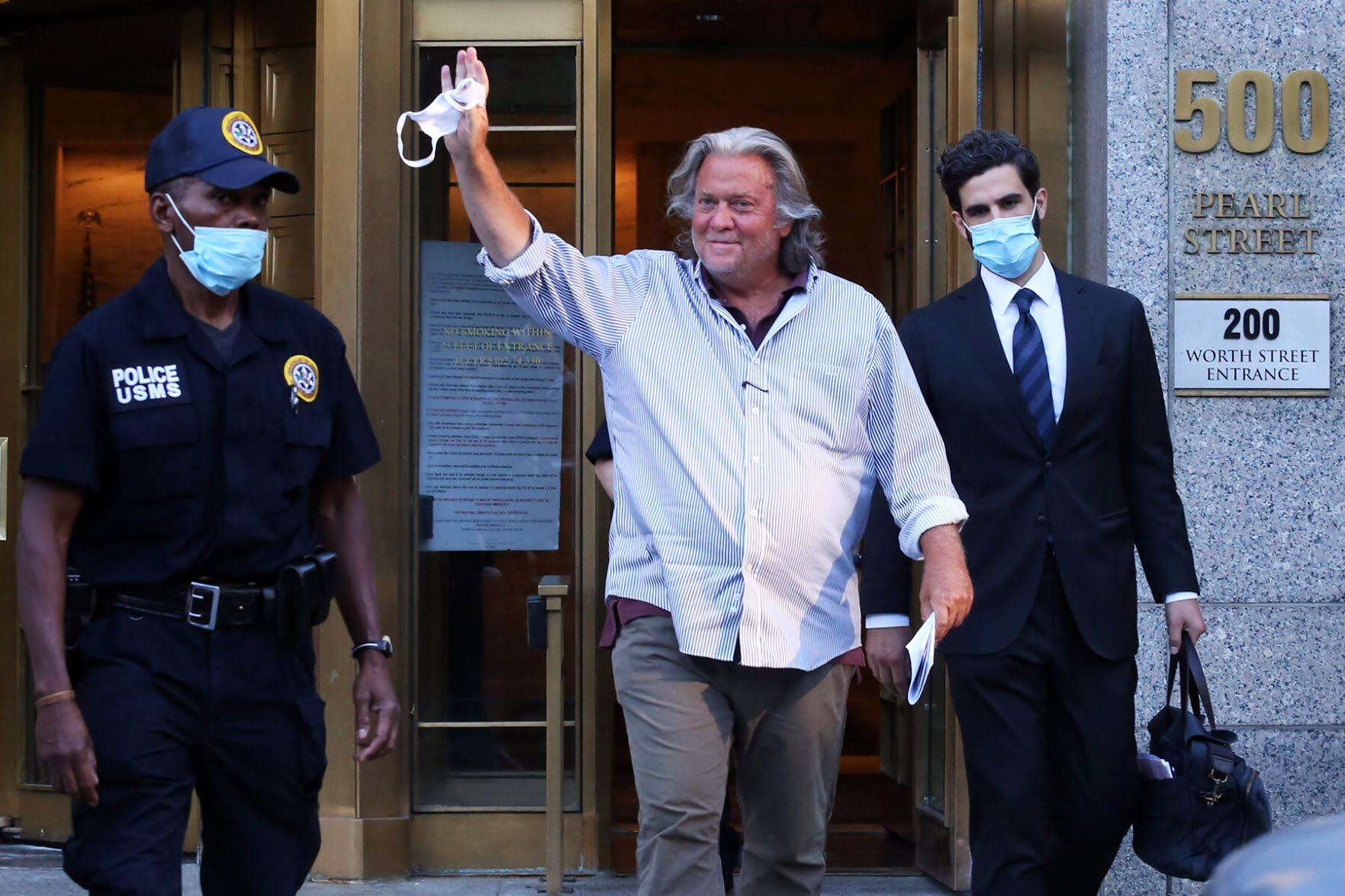Stephen K. Bannon, the former White House chief strategist, leaving Federal District Court in Manhattan on Thursday afternoon.