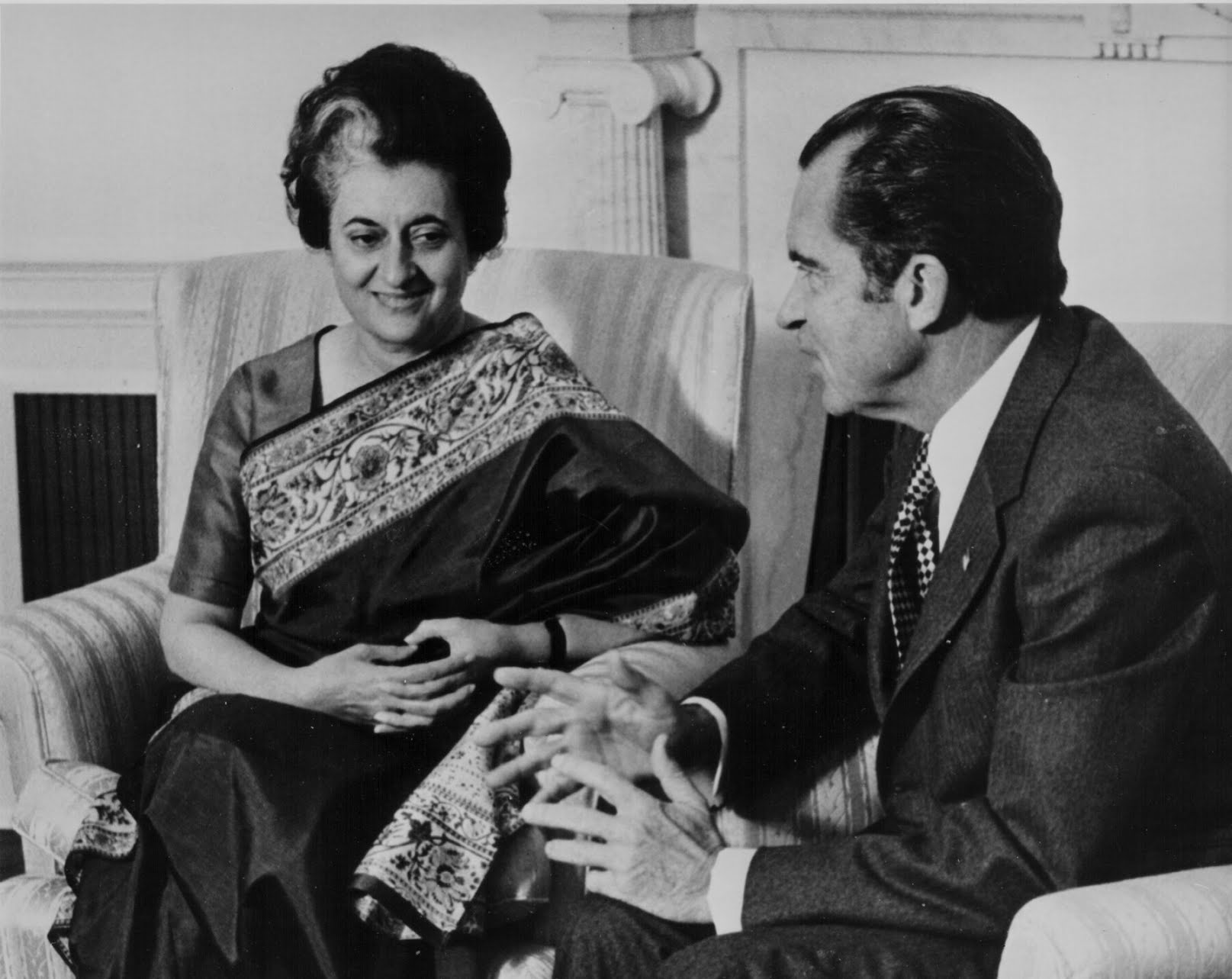 Prime Minister Indira Gandhi and President Nixon at the White House in 1971.