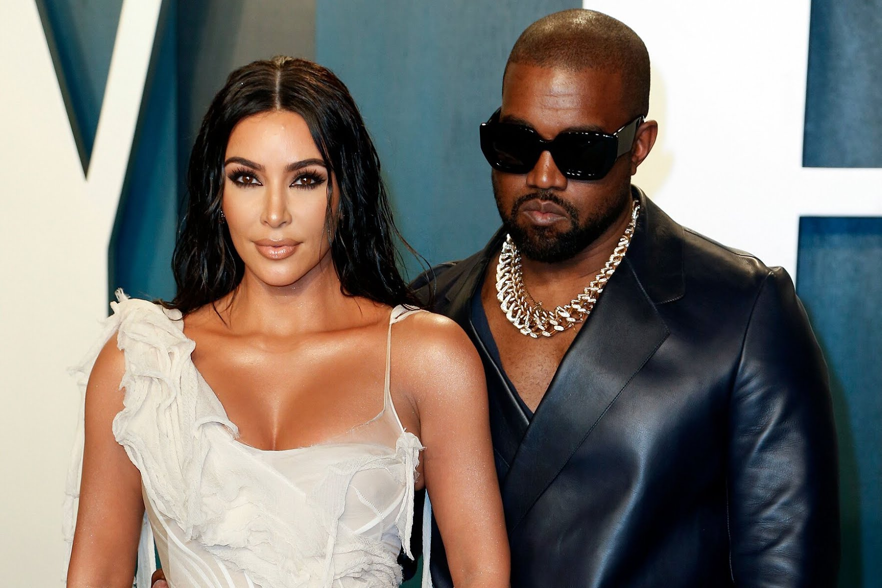 Kim Kardashian West and Kanye West at Vanity Fair's 2020 Oscars after-party.
