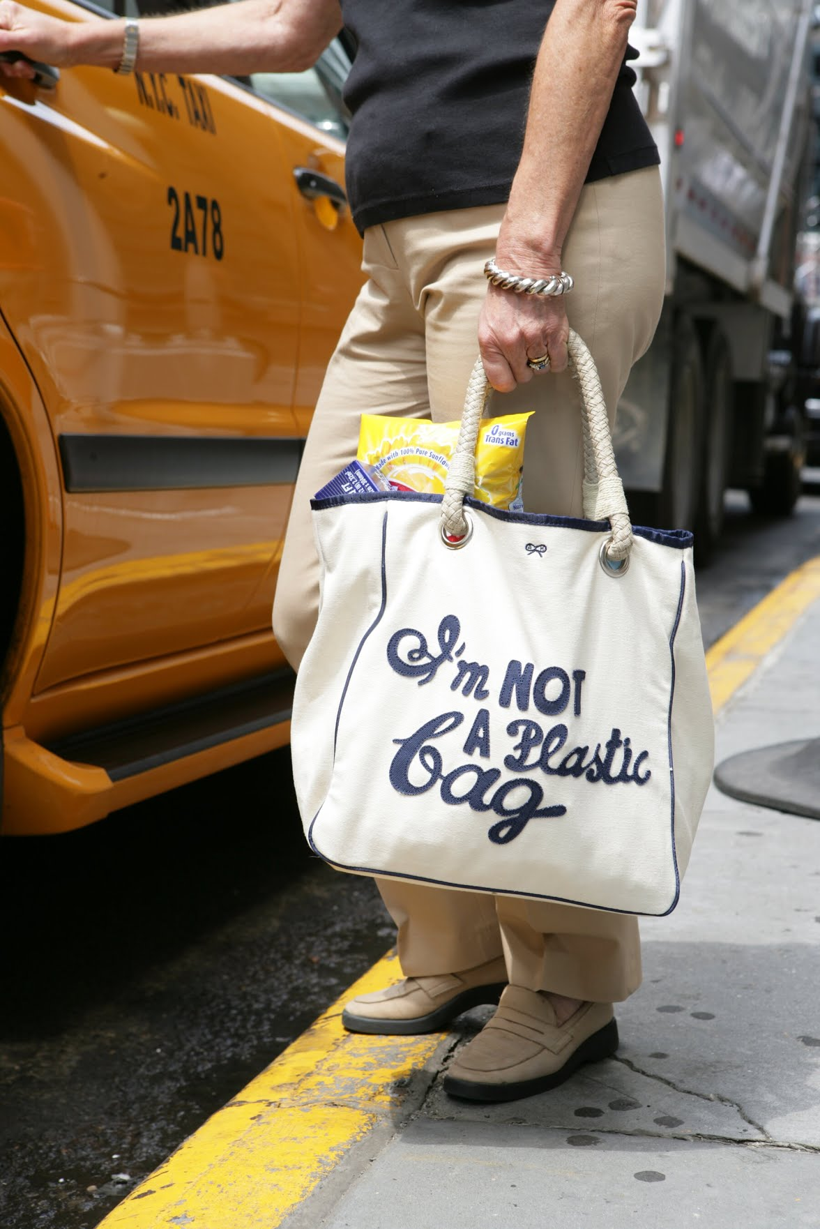 The original Anya Hindmarch tote, sold at Whole Foods for $15 back in 2007, that kick-started the anti-plastic-bag campaign.