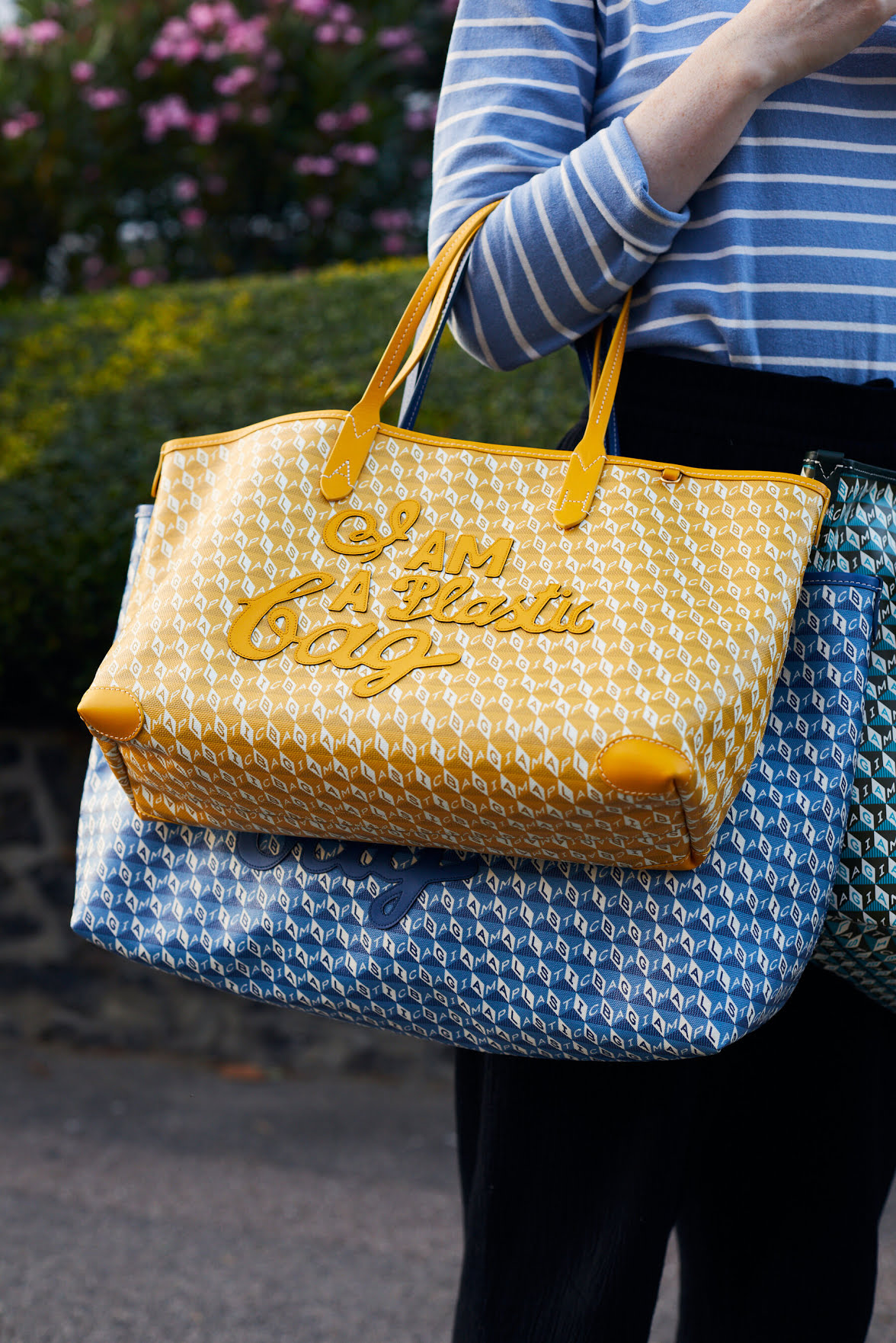 Ms. Hindmarch's updated version, made from recycled plastic.