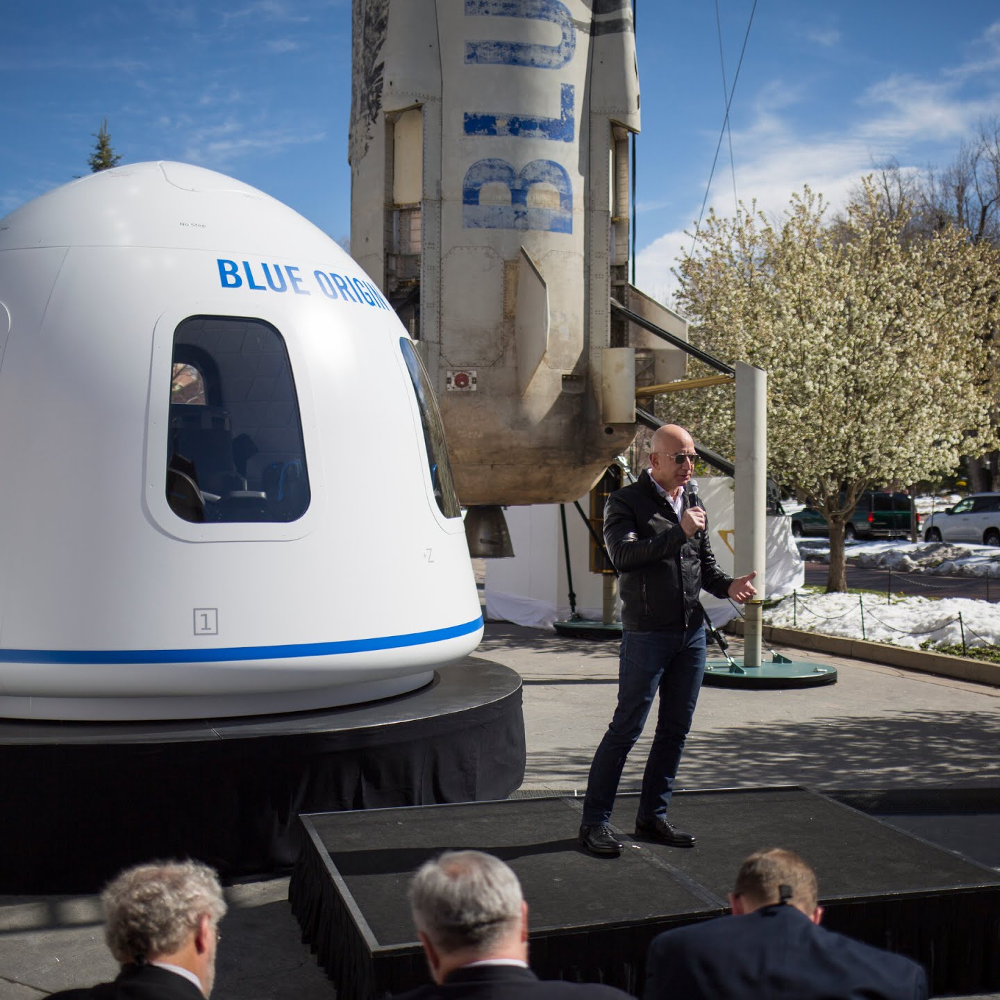 Mr. Bezos speaking during the third Space Symposium in Colorado Springs in 2017.