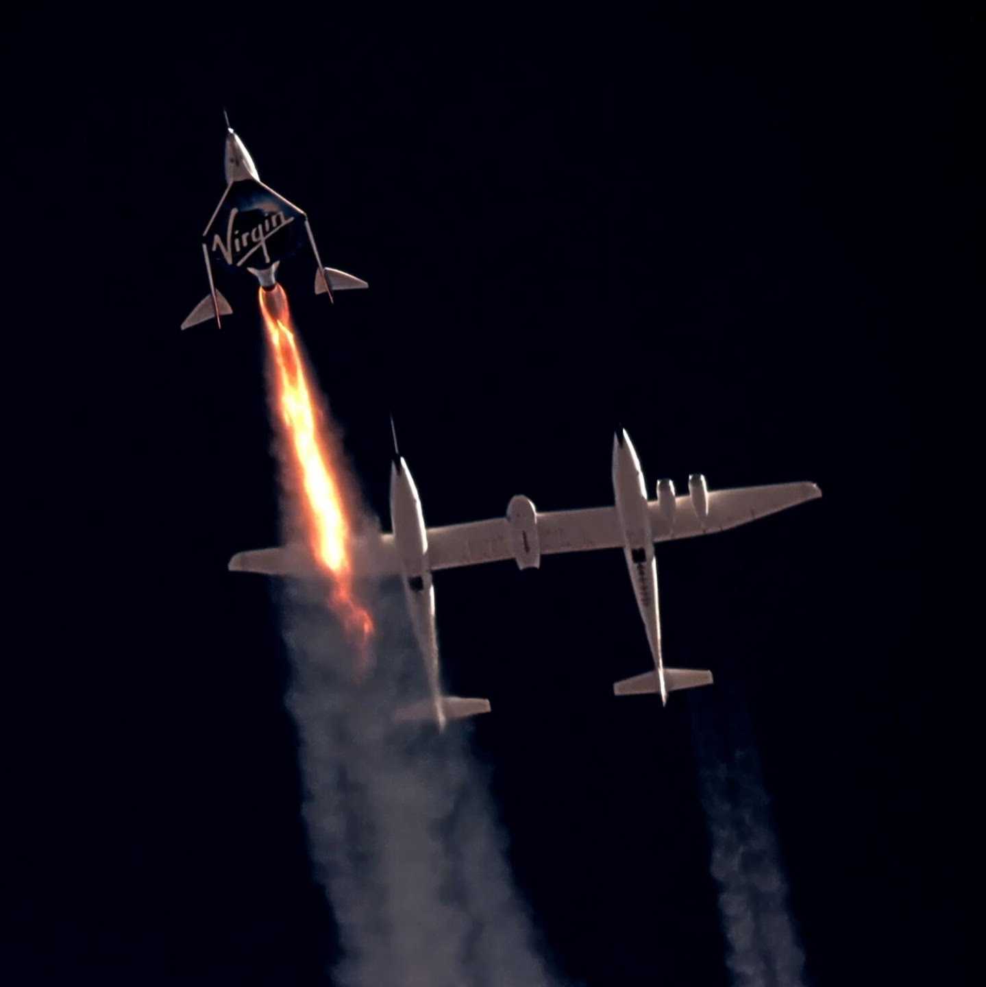 VSS Unity, the Virgin Galactic spacecraft carrying Richard Branson and crew, as it began its ascent to the edge of space near Truth or Consequences, N.M., on July 11.