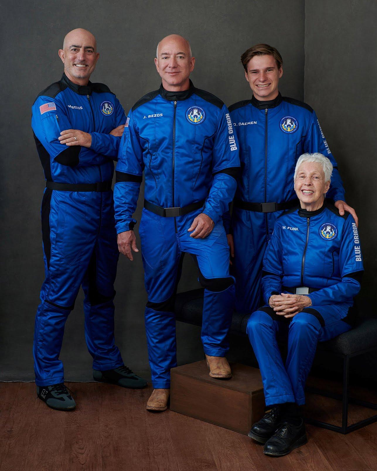 From left, Mark Bezos, Jeff Bezos, Mr. Daemen and Ms. Funk.