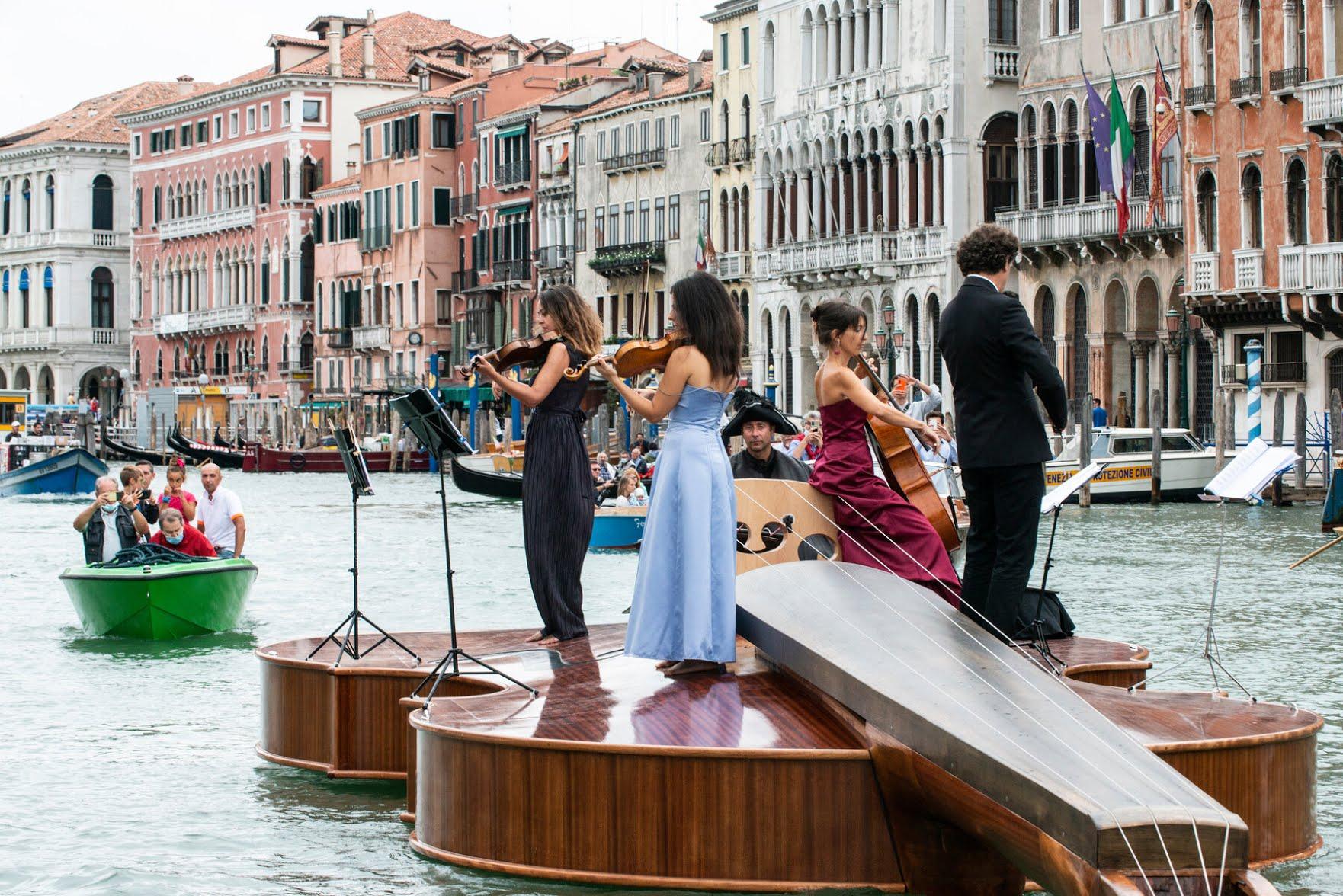 The musicians played barefoot for a better grip. From left,Caterina Camozzi,Angelica Faccani,Tiziana Gasparoni andSokol Prekalori.